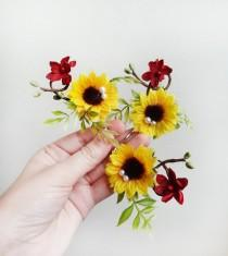 wedding photo - sunflower hair pin, fall hair clips, sunflower hair accessories, sunflower hair clip, burgundy hair piece, burgundy hair flower, wedding