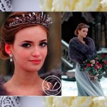 wedding photo - Purple crown Tiara holiday crown Silver wedding crown Violet Beaded headband Wedding hair accessory for bridesmaid Purple tiara hair jewelry