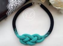 wedding photo - Blue beaded rope harness necklace rope crocheted necklace with beads Gift necklace women blue and black jewelry bead crochet rope Elegant