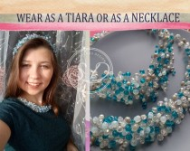wedding photo - Wedding crystal tiara Bridal Headpiece tiara or necklace Something Blue Bridal Tiara Wedding crown wedding hair piece Flower girl