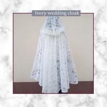 wedding photo - Medieval hooded Catholic Mantilla Veil Сhurch scarf Renaissance Fairy latin mass veils bridal lace cloak girls hooded cloak costume