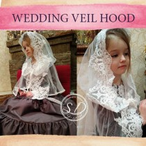 wedding photo - Hooded Shawl Infinity Veil Traditional catholic lace mantilla veil for mass Head coverings Circle Church Veil communion gift for girls
