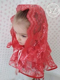wedding photo - Red Medieval Lace Cape Hooded Capelet catalytic shawl with hood Vampire Veil Renaissance Halloween Cloak Cape Red Riding Cloak Charch veil