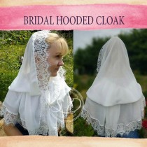 wedding photo - Chiffon hooded cape Ivory or white Medieval hooded cape Wedding cloak shawl cover up First Communion Cape Fairy bridal head coverings mass