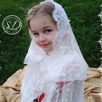 wedding photo - Church hood Mantilla First Communion Bridal Separates vintage 70s Scottish widow hood coverings mass Headcovering for church