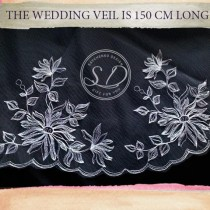 wedding photo - Light ivory Lace cathedral veil, bridal veil with elements, Traditional Veil, Lace Bridal Veil, Lace Trim Veil Boho Veil, chapel, royal veil