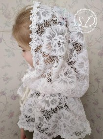 wedding photo - First Communion Cape Medieval hooded cap Lace Capelet Catholic Mantilla Veil Сhurch scarf Infinity or D Shape Victorian White Embroidered Ve