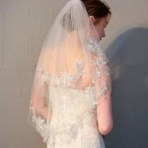 wedding photo - Wedding Lace veil Mantilla Ivory Veil Lace Mantilla Veil Fingertip Lace Veil Lenght with Lace Edge Boho veil Soft tulle veil Cathedral