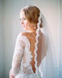 wedding photo - bridal veil ivory Lace veil boho Drop Vigne peigne mariage Wedding veil Ivory veils Cathedral ivory wedding veil Fingertip Length Tulle Veil