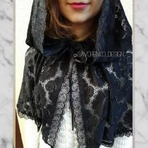 wedding photo - Black laced head veils for church