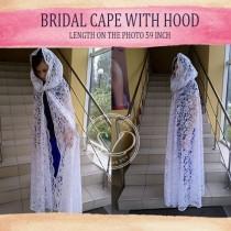 wedding photo - Bridal Cape with hoodCatholic Mantilla Veil 1970s long wedding cape alternative wedding Floral Sheer hooded Cape fairytale cape with lace