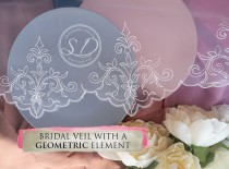 wedding photo - Single Tier Soft Tulle ivory Veil With geomrtric ornamens lace at the edge italian lace vei cathedral wedding veil floral lace veil short