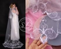 wedding photo - Cathedral Mantilla wedding veil 90 inch 2 Layer veil single tier classic veil Two Tier Long white Bridal Veil Fingertip Veil Circle Veil