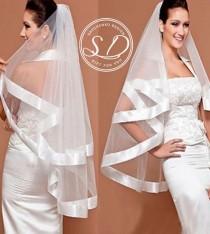 wedding photo - Ribbon Veil Fingertip Veil Elegant Veil Fingertip Wedding Veil with CombRibbon Edge Rwo layers Waist Length Veil Wide Satin Ribbon