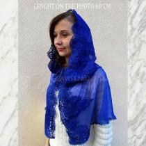 wedding photo - Blue wedding lace cape with hood