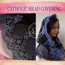 wedding photo - Black Veil catholic lace mantilla veil Head coverings Circle Church Veil Black Spanish Lace Infinity Latin Mass Consolation Lace