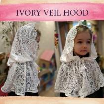 wedding photo - Church veil catholic head lace veil cape baptême little girl burlap lace cape cloak hooded first communion shawl robe mariée médievale