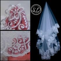 wedding photo - Soft Wedding Veil 59 inch classic cathedral veil diamond white diamond edge veil comb veil 1T wedding veil fingertip veil Length edge veil