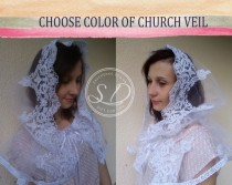 wedding photo - Hooded Lace Capelet Hooded Shawl catholic head veil mantilla ivory circle ivory lace shawl Steampunk Organza Bridal Cape long hooded cape