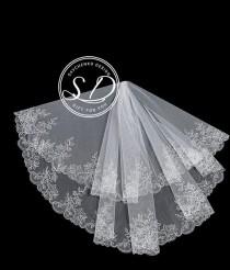 wedding photo - 1 tier short lace bridal veil ivory drop veil Fingertip Partial Lace veil Dramatic Lace Wedding Veil ivory cathedral wedding veil boho