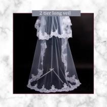 wedding photo - Long bridal veil 2 tier Cut Edge Waltz Veil Lace boho Wedding Veil Mantilla ivory veil alencon lace veil Fingertip veil kate middleton veil