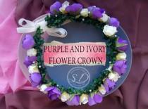 wedding photo - Ivory purple and lilac flower girl rose floral crown wildflower crown bridal floral headpiece beach destination wedding Boho wreath