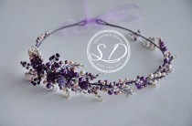 wedding photo - Purple Crystal hair vine Violet Beaded headband Lilac Crown with gemstones Boho wedding wreath Attire Wired Hair Jewelry bande de mariage