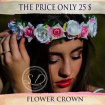 wedding photo - Blush Flower Crown Wedding Green Salmon Flower Girl Flower Crown Wreath Pastel Pink Roses Bohemian Headpiece Woodland Flower Crown Rosa