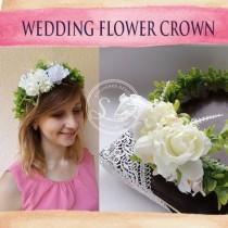 wedding photo - Wedding flower crown Bridal flower crown Beach wedding hair Boho floral crown Woodland headpiece Elf crown Nautical bridal Elven headpiece