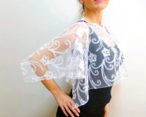 wedding photo - White lace capelet, lace wedding top wear shoulder wrap bolero, bridal shawl shrug, silvery rope lace stole wrap scarf, Wraps shawl