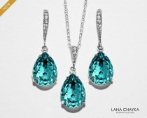 wedding photo - Turquoise Crystal Jewelry Set, Swarovski Light Turquoise Earrings&Necklace Set Wedding Teal Jewelry Bridal Bridesmaid Light Teal Jewelry Set