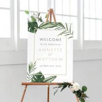 wedding photo - Printable Welcome Sign Poster Modern Tropical Foliage Wedding Welcome Sign-Wedding Reception Sign Printable Wedding Sign - (Item code: P408)