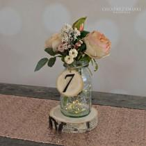 wedding photo - Rustic Wedding Tree Slice Table Numbers~ Spring Wedding ~ DIY Wedding ~ Mason Jar Table Numbers ~ Rustic Table Number ~ Wedding Table Number