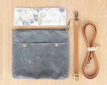 wedding photo - Handmade Waxed Canvas Clutch Purse in Grey with Vintage Style Floral Lining, Choose Your Leather Strap Length and Hardware Finish, Crossbody