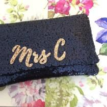 wedding photo - MRS Personalized initial sequin clutch purse handbag