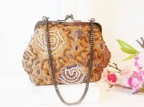 wedding photo - Vintage Brown Bead Evening Bag, Glamorous Brown Evening Purse  EB-0115