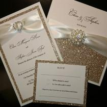 wedding photo - Champagne gold glitter wedding invitations luxury handmade