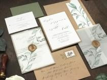 wedding photo - Vellum Wedding Invitation Set with Wax Seal and Printed Greenery, Rustic Elegant Invite, Modern Calligraphy with Thread and Vellum Wrap