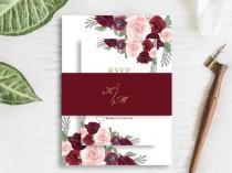 wedding photo - Elegant Burgundy Wedding Invitation Suite Bohemian Wine Blush Peach Flower Invite RSVP Details Belly Band SC317(120LB premium card stock)
