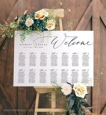 wedding photo - Self-Editing Seating Chart Template, Printable Wedding Seating Sign, Instant Download, 100% Editable, DIY, US & UK Poster Sizes #052-225SC