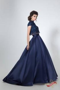 wedding photo - Two piece lace and satin dress, Navy blue evening dress, Cap sleeves prom dress, Crop top and skirt set Floral lace bodice Long evening gown