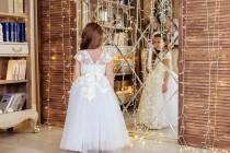 wedding photo - Flower Girl Dress, Ivory Flower Girl Dress, Rustic Girl Dress, Ivory Lace Flower Girl Dress, Lace Flower Girl Dress, Baby Girl Dress, Dress
