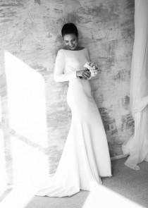 wedding photo - Elegant Wedding Dress, Long Sleeve Wedding Dress, Wedding Dress, Open Back Wedding Dress, Sexy Wedding Dress, Simple Wedding Dress, Wedding