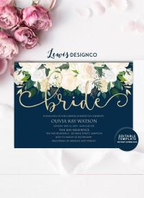 wedding photo - Bridal Shower Invitation, White Navy Gold Floral Wedding Invitation, Bridal Shower Invite, Editable Template, Instant Download Printable diy