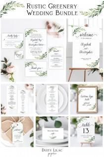 wedding photo - printable wedding invitation set bundle, editable rustic greenery full wedding suite template, diy wedding stationery sign kit, DLP01