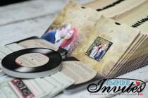 wedding photo - record wedding invitations, vinyl record invitations, optional mixtape RSVP