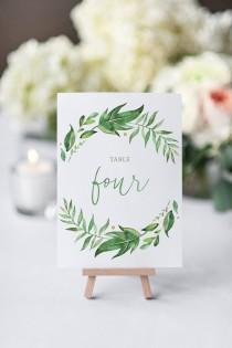 wedding photo - Printable Wedding Table Numbers / Watercolor Wreath / Leaves / Calligraphy / Table Numbers 1-21 / Instant Download / Greenery / Digital 4x6