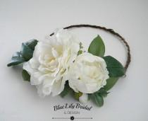 wedding photo - Ready To Ship-Flower Crown or Hair Clip with  Real Touch Camellia in White/ Wedding Flower Crown/ Photo Prop/ Bridal Hair Piece
