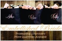 wedding photo - Personalized Tote Bags Set of 10 Embroidered Tote Bags Bridal Party Bridesmaid Gift