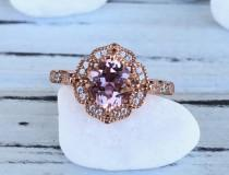 wedding photo - Art Deco Rose Gold Cushion Cut 1.28Ct Pink Morganite Simulant And Round Cut Diamond Stone Sterling Silver Engagement Wedding Ring